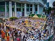 09 NOVEMBER 2017 - BANGKOK, THAILAND: The crowd of devotees at the Erawan Shrine on the 61st anniversary of the shrine's dedication. The Erawan Shrine is one of the most popular shrines in Bangkok. It was dedicated on November 9, 1956, after a series of construction accidents at what was then the Erawan Hotel (since torn down and replaced by the Grand Hyatt Erawan Hotel). The statue in the shrine is Phra Phrom, the Thai representation of the Hindu god of creation Brahma. It is a Hindu shrine popular with Thai and Chinese Buddhists because it is thought that making an offering to the Phra Phrom will bring good fortune.    PHOTO BY JACK KURTZ