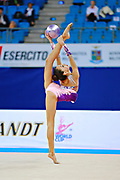 "Adilkhanova Alina from Kazakhstan during ball routine at  the International Tournament ""Città di Pesaro"",02 April,2016.This tournament dedicated to the youngest athletes is at the same time of the World Cup."