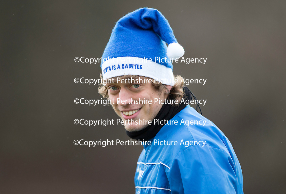 St Johnstone Training....20.12.13<br /> Murray Davidson in a festive mood in training to day ahead of tomorrow's game at Hibs.<br /> Picture by Graeme Hart.<br /> Copyright Perthshire Picture Agency<br /> Tel: 01738 623350  Mobile: 07990 594431