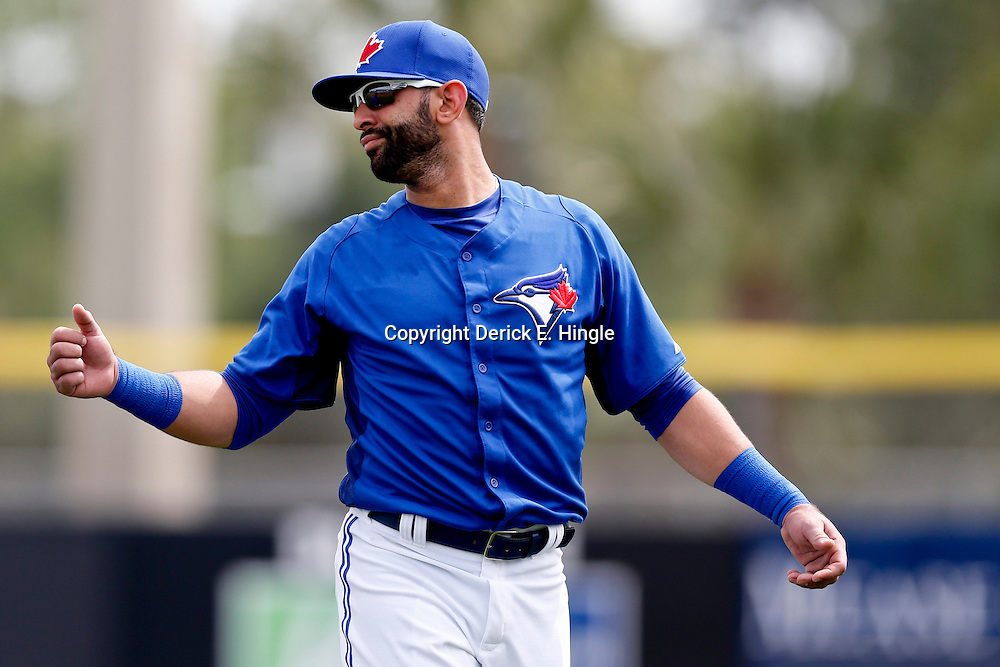 Feb 25, 2013; Dunedin, FL, USA; Toronto Blue Jays right fielder Jose Bautista (19) against the Boston Red Sox during a spring training split squad game at Florida Exchange Park. Mandatory Credit: Derick E. Hingle-USA TODAY Sports