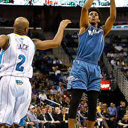 February 1, 2011; New Orleans, LA, USA; Washington Wizards shooting guard Nick Young (1) shoots over New Orleans Hornets point guard Jarrett Jack (2) during the second half at the New Orleans Arena. The Hornets defeated the Wizards 97-89.  Mandatory Credit: Derick E. Hingle