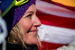 PYEONGCHANG, SOUTH KOREA - FEBRUARY 12: Jamie Anderson #1 of the United States celebrates after winning the gold medal during the Women's Slopestyle Snowboard competition at Phoenix Snow Park on February 12, 2018 in PyeongChang, South Korea.  Photo by Ronald Hoogendoorn / Sportida