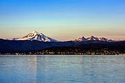 Sunset at Mt. Baker across Bellingham Bay, Bellingham, Washington, Pacific Northwest, USA.
