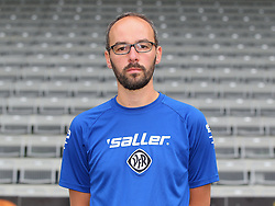 14.07.2015, Scholz Arena, Aalen, GER, 2. FBL, VfR Aalen, Fototermin, im Bild Betreuer Bastian Noth // during the official Team and Portrait Photoshoot of German 2nd Bundesliga Club VfR Aalen at the Scholz Arena in Aalen, Germany on 2015/07/14. EXPA Pictures © 2015, PhotoCredit: EXPA/ Eibner-Pressefoto/ Langer<br /> <br /> *****ATTENTION - OUT of GER*****
