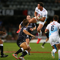 DURBAN, SOUTH AFRICA - APRIL 18: Jesse Kriel  of the Vodacom Blue Bulls tacking a high ball during the Super Rugby match between Cell C Sharks and Vodacom Bulls at Growthpoint Kings Park on April 18, 2015 in Durban, South Africa. (Photo by Steve Haag/Gallo Images)