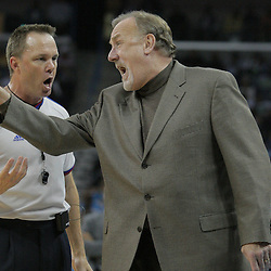 16 March 2009: Houston Rockets coach Rick Adelman argues with an NBA official during a NBA game between the New Orleans Hornets and the Houston Rockets at the New Orleans Arena in New Orleans, Louisiana.