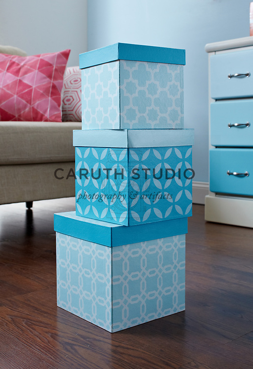 Living room paint projects, stenciled nesting boxes
