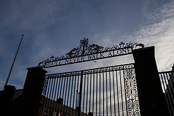LIVERPOOL, ENGLAND - Tuesday, March 17, 2020: A silhouette of the Shankly Gates at a near deserted Anfield, home of Champions-elect Liverpool Football Club, after the suspension of all football due to the Coronavirus (COVID-19) and Liverpool's decision to close it's Boot Room cafe and official stores. (Pic by David Rawcliffe/Propaganda)