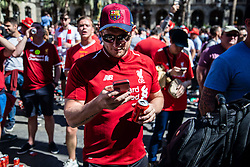May 1, 2019 - Barcelona, Catalonia, Spain - Liverpool fan wearing a F.C.Barcelona hat before the UEFA Champions League Semi Final first leg match between Barcelona and Liverpool at the Nou Camp on May 01, 2019 in Barcelona, Spain. (Credit Image: © Pau Venteo/NurPhoto via ZUMA Press)