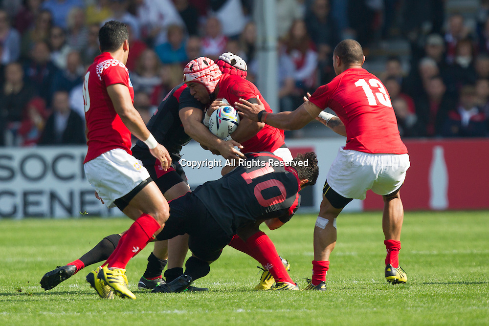 19.09.2015. Gloucester, England. Rugby World Cup. Tonga versus Georgia. Will Helu of Tonga takes the ball into contact.