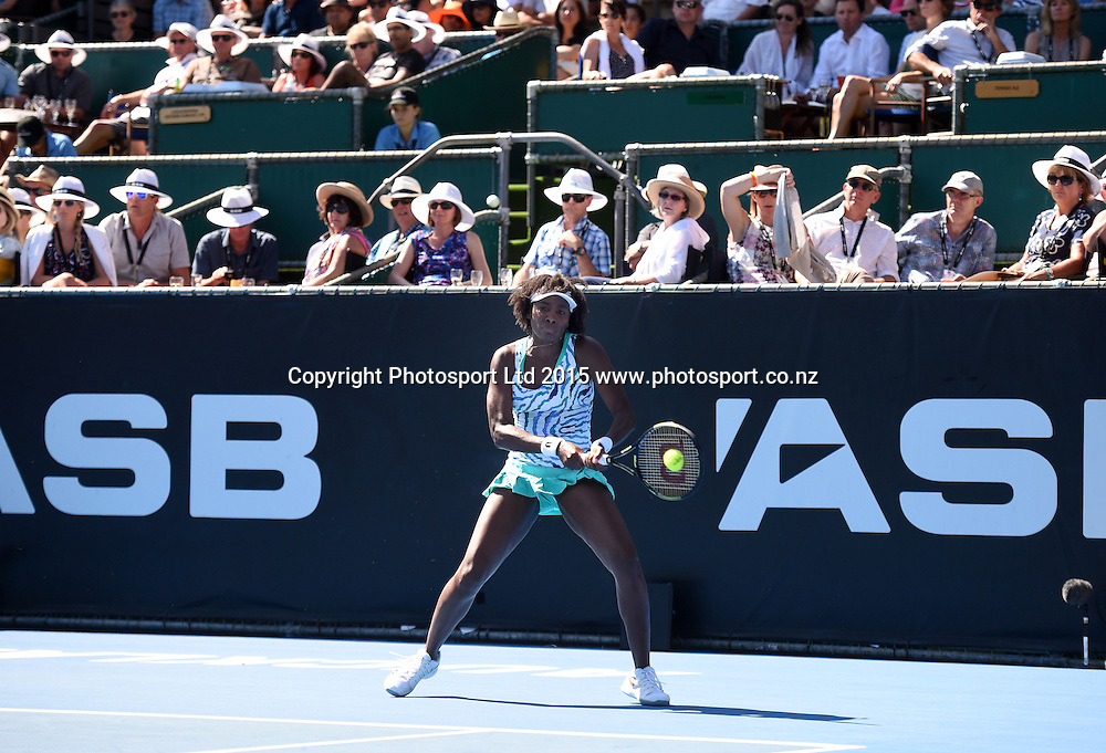 USA's Venus Williams on Finals day at the ASB Classic WTA International. ASB Tennis Centre, Auckland, New Zealand. Saturday 10 January 2015. Copyright photo: Andrew Cornaga/www.photosport.co.nz