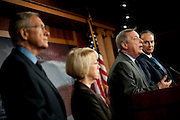 Senate Majority Leader Harry Reid (D-NV) and Senators Chuck Schumer (D-NY), DICK DURBAN (D-IL) and PATTY MURRAY (D-WA) during a press conference about the budget negotiations with the Republicans.