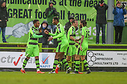 Forest Green Rovers Keanu Marsh-Brown(7) celebrates his 2nd goal with team mates during the Vanarama National League match between Forest Green Rovers and Torquay United at the New Lawn, Forest Green, United Kingdom on 1 January 2017. Photo by Shane Healey.