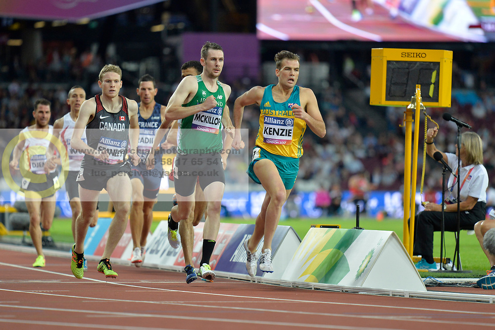 16/07/2017 : Michael McKillop (IRL), Liam Stanley (CAN), Kenzie Deon (AUS), Men's 800m, T38, Final, at the 2017 World Para Athletics Championships, Olympic Stadium, London, United Kingdom