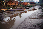 Sawa Village on the Pomats River at low tide in the Asmat, a large, steamy hot tidal swamp. Irian Jaya, Indonesia. Image from the book project Man Eating Bugs: The Art and Science of Eating Insects.