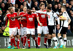 Richard Keogh of Derby County points accusingly at Damien Perquis of Nottingham Forest during a fracas - Mandatory by-line: Robbie Stephenson/JMP - 11/12/2016 - FOOTBALL - iPro Stadium - Derby, England - Derby County v Nottingham Forest - Sky Bet Championship