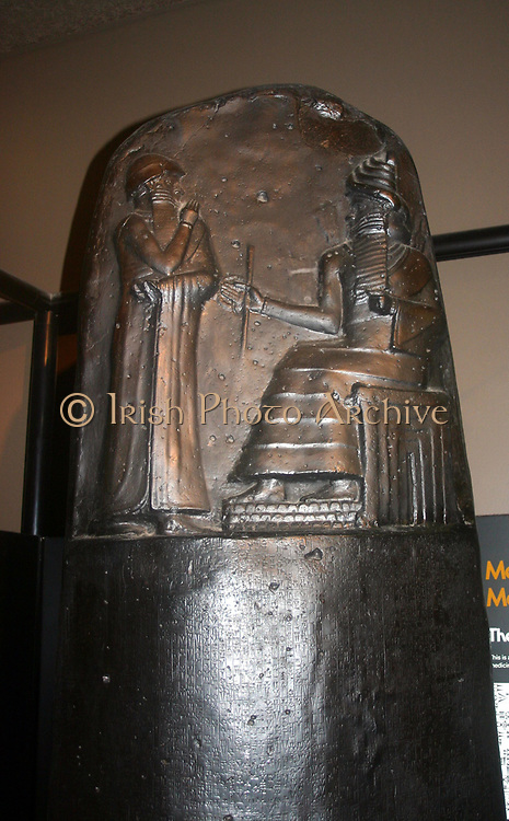 Stele showing part of the Code of Hammurabi (Codex Hammurabi), the best preserved ancient law code, was created  c1760 BC (middle chronology) in ancient Babylon.