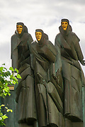 Three Muses sculpture atop Lithuanian National Drama Theater, Vilnius, Lithuania