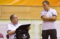 Head coach Bozidar Maljkovic and Matej Avanzo during practice session of Slovenian National Basketball team during training camp for Eurobasket Lithuania 2011, on July 12, 2011, in Arena Vitranc, Kranjska Gora, Slovenia. (Photo by Vid Ponikvar / Sportida)