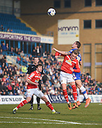 Crewe midfielder George Cooper and Gillingham forward Ben Dickenson during the Sky Bet League 1 match between Gillingham and Crewe Alexandra at the MEMS Priestfield Stadium, Gillingham, England on 12 March 2016. Photo by David Charbit.