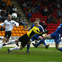 St Johnstone v Clyde..  18.01.03<br />Paddy Connolly opens the scoring for St Johnstone<br /><br />Pic by Graeme Hart<br />Copyright Perthshire Picture Agency<br />Tel: 01738 623350 / 07990 594431