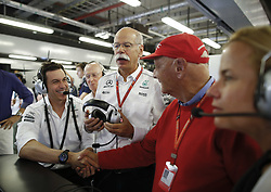 November 25, 2017 - Abu Dhabi, United Arab Emirates - Motorsports: FIA Formula One World Championship 2017, Grand Prix of Abu Dhabi, ..Toto Wolff (AUT, Mercedes AMG Petronas Formula One Team),  Dr. Dieter Zetsche (Chairman of the Board of Management of Daimler AG, Head of Mercedes-Benz Cars), Niki Lauda (AUT, Mercedes AMG Petronas Formula One Team) (Credit Image: © Hoch Zwei via ZUMA Wire)