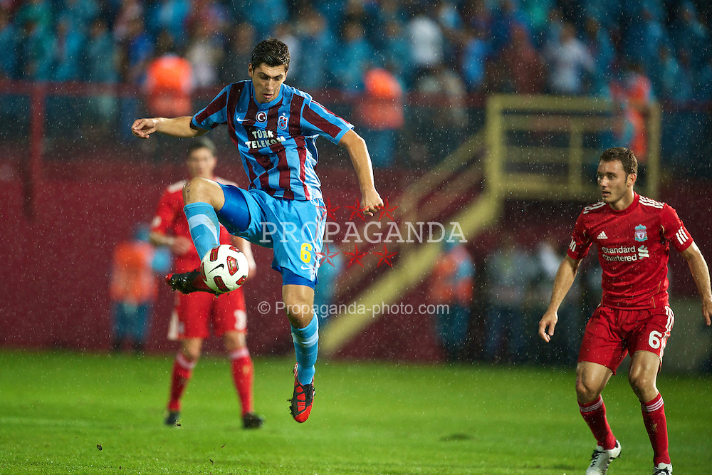 TRABZON, TURKEY - Thursday, August 26, 2010: Trabzonspor's Ceyhun Gulselam in action against Liverpool during the UEFA Europa League Play-Off 2nd Leg match at the Huseyin Avni Aker Stadium. (Pic by: David Rawcliffe/Propaganda)