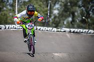 #156 (AZUERO Domenica) ECU during practice at round 1 of the 2018 UCI BMX Supercross World Cup in Santiago del Estero, Argentina.