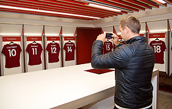 LIVERPOOL, ENGLAND - Sunday, June 18, 2017: Marcus Willis takes a photo in the dressing room on a visit Anfield during Day Four of the Liverpool Hope University International Tennis Tournament 2017. (Pic by David Rawcliffe/Propaganda)