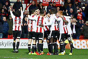 Rotherham United players celebrate a goal from Brentford midfielder Jota (23) (score 3-2) during the EFL Sky Bet Championship match between Brentford and Rotherham United at Griffin Park, London, England on 25 February 2017. Photo by Andy Walter.