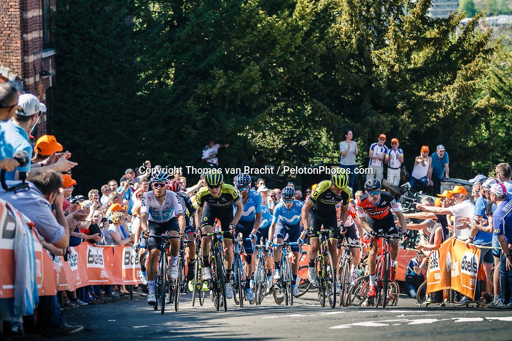 Peloton with KWIATKOWSKI Michal of Team Sky during the 1st lap on Mur de Huy at the 2018 La Flèche Wallonne race, Huy, Belgium, 18 April 2018, Photo by Thomas van Bracht / PelotonPhotos.com | All photos usage must carry mandatory copyright credit (Peloton Photos | Thomas van Bracht)
