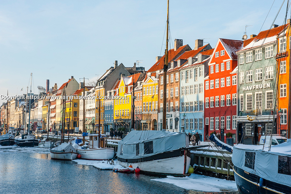 Winter view of Nyhavn Harbour in Copenhagen , Denmark