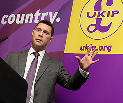 © Licensed to London News Pictures . 24/04/2014 . Manchester , UK . UKIP MEP Candidate , STEVEN WOOLFE , addresses a UKIP conference rally at the Free Trade Hall in Manchester . Photo credit : Joel Goodman/LNP