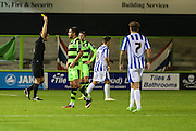 Cheltehham Town's Billy Walters is shown a yellow card, booked during the Gloucestershire Senior Cup match between Forest Green Rovers and Cheltenham Town at the New Lawn, Forest Green, United Kingdom on 20 September 2016. Photo by Shane Healey.