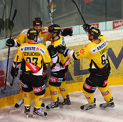 01.01.2013, Albert Schultz Eishalle, Wien, AUT, EBEL, UPC Vienna Capitals vs SAPA Fehervar AV19, 37. Runde, im Bild Torjubel cMarcus Schlacher, (UPC Vienna Capitals, #23),Zdenek Blatny, (UPC Vienna Capitals, #13), Justin Keller, (UPC Vienna Capitals, #19) und Andre Lakos, (UPC Vienna Capitals, #64) // during the Erste Bank Icehockey League 37th Round match betweeen UPC Vienna Capitals and SAPA Fehervar AV19 at the Albert Schultz Ice Arena, Vienna, Austria on 2013/01/01. EXPA Pictures © 2013, PhotoCredit: EXPA/ Thomas Haumer