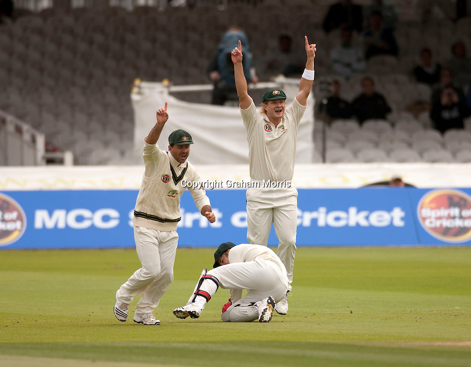 Ricky Ponting (left) and Shane Watson celebrate as wicket keeper Tim Paine catches Azhar Ali off Ben Hilfenhaus during the MCC Spirit of Cricket Test Match between Pakistan and Australia at Lord's.  Photo: Graham Morris (Tel: +44(0)20 8969 4192 Email: sales@cricketpix.com) 16/07/10