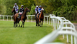 Anapurna redden by jockey Frankie Dettori (centre) before the start of the RaceBets Money Back All Losers Oaks Trial Fillies' Stakes during the The Derby Trial Day at Lingfield Racecourse.