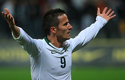 Zlatan Ljubijankic (9) celebrates a goal at the fourth round qualification game of 2010 FIFA WORLD CUP SOUTH AFRICA in Group 3 between Slovenia and Northern Ireland at Stadion Ljudski vrt, on October 11, 2008, in Maribor, Slovenia.  (Photo by Vid Ponikvar / Sportal Images)
