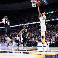 01 April 2018: Denver Nuggets guard Jamal Murray (27) goes for the layup during the Denver Nuggets 128-125 victory over the Milwaukee Bucks, at the Pepsi Center, Denver, Colorado, USA.