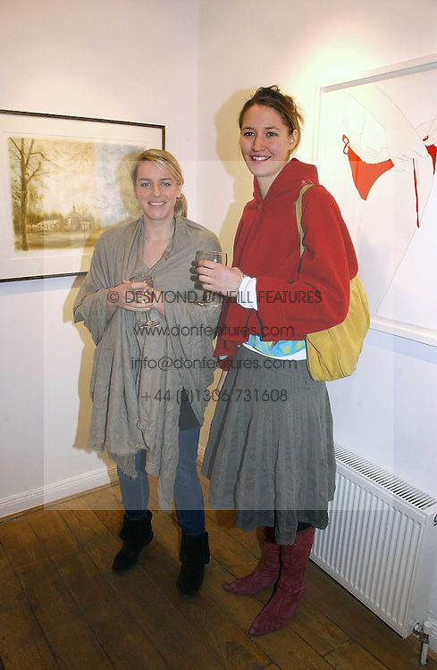 Left to right, LAURA LOPES daughter of HRH The Duchess of Cornwall  and her sister in law MIMA LOPES at a private view of 'Works on Paper' by various artists held at Eleven, 11 Eccleston Street, London SW1 on 10th January 2007.<br /><br />NON EXCLUSIVE - WORLD RIGHTS