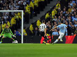 Manchester City's Sergio Aguero scores Manchester City's second of the game  - Photo mandatory by-line: Joe Meredith/JMP - Tel: Mobile: 07966 386802 19/08/2013 - SPORT - FOOTBALL - Etihad Stadium - Manchester - Manchester City V Newcastle United - Barclays Premier League