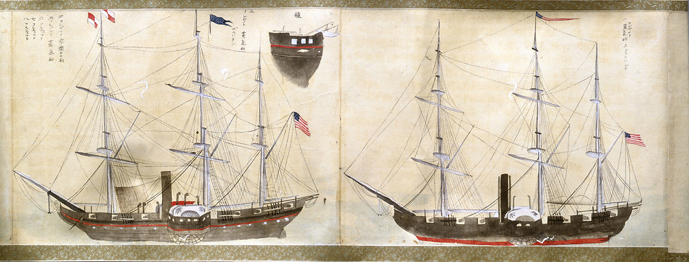 Matthew Perry (1794-1858). Ships of Perry's American expedition to Japan from 1852-1854 which opened diplomatic relations with the USA and granted them first trading rights. Japanese. Colour wash. Private collection.