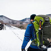 Hiking to the Frankenstein cliffs in New Hampshire for ice climbing