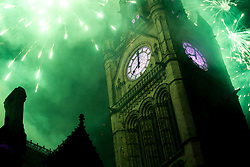 © Licensed to London News Pictures . 07/11/2015 . Manchester , UK . Fireworks for the Christmas Lights switch on over Manchester Town Hall in Albert Square . Photo credit : Joel Goodman/LNP