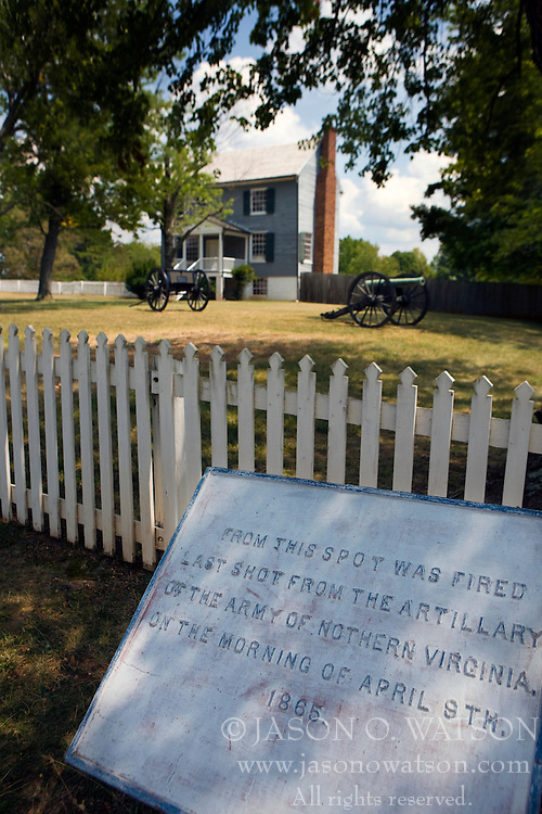 Plaque marking the location of the artillery last shot of the Civil War, Peers House, Appomattox Court House National Historical Park, Appomattox, Virginia.