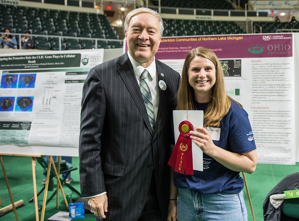 Kaitlyn McKnight poses for a picture with Ohio University President Duane Nellis during the 2018 Student Research Expo.