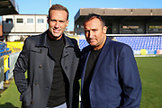 Tv star Calum Best and Wimbledon's record goal scorer Kevin Cooper on the Kingsmeadow/ Cherry Red Records Stadium pitch prior to kick off during the EFL Sky Bet League 1 match between AFC Wimbledon and Fleetwood Town at the Cherry Red Records Stadium, Kingston, England on 8 February 2020.