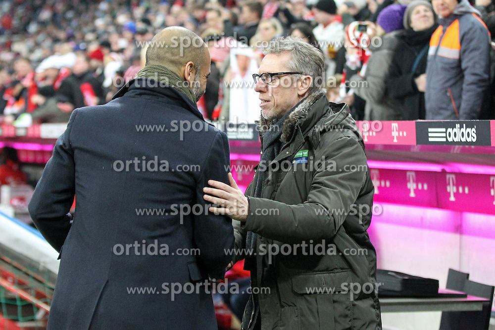 27.02.2015, Allianz Arena, Muenchen, GER, 1. FBL, FC Bayern Muenchen vs 1. FC K&ouml;ln, 23. Runde, im Bild l-r: Chef-Trainer Pep Guardiola (FC Bayern Muenchen) begruesst Chef-Trainer Peter Stoeger (1. FC Koeln) // during the German Bundesliga 23rd round match between FC Bayern Munich and 1. FC K&ouml;ln at the Allianz Arena in Muenchen, Germany on 2015/02/27. EXPA Pictures &copy; 2015, PhotoCredit: EXPA/ Eibner-Pressefoto/ EXPA/ Kolbert<br /> <br /> *****ATTENTION - OUT of GER*****