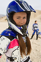 Motocross Racer Wearing Helmet