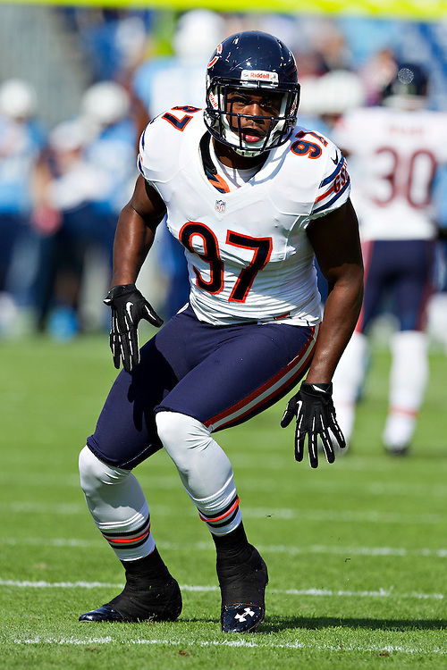 NASHVILLE, TN - NOVEMBER 4:  J.T. Thomas #97 of the Chicago Bears warms up before a game against the Tennessee Titans at LP Field on November 4, 2012 in Nashville, Tennessee.  The Bears defeated the Titans 51-20.  (Photo by Wesley Hitt/Getty Images) *** Local Caption *** J.T. Thomas